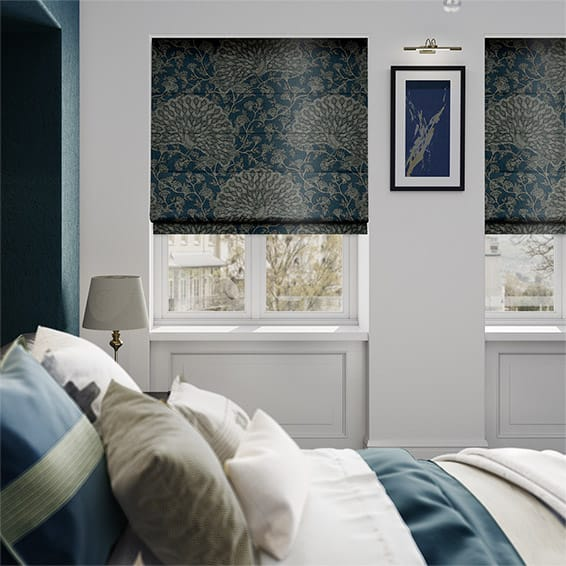 Pinion Velvet Royal Blue Roman Blind