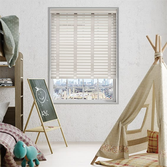 Powder Suave & Mercury Faux Wood Blind - 50mm Slat