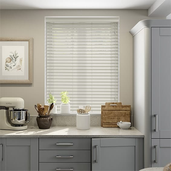 Premium Sleek Argent White Faux Wood Blind - 50mm Slat