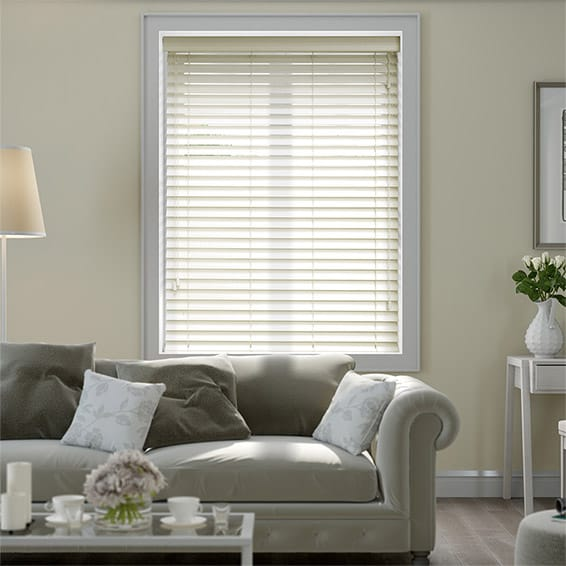 Premium Sleek Cornsilk Faux Wood Blind - 50mm Slat