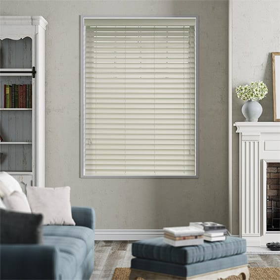 Premium Sleek Eggshell White Faux Wood Blind - 50mm Slat