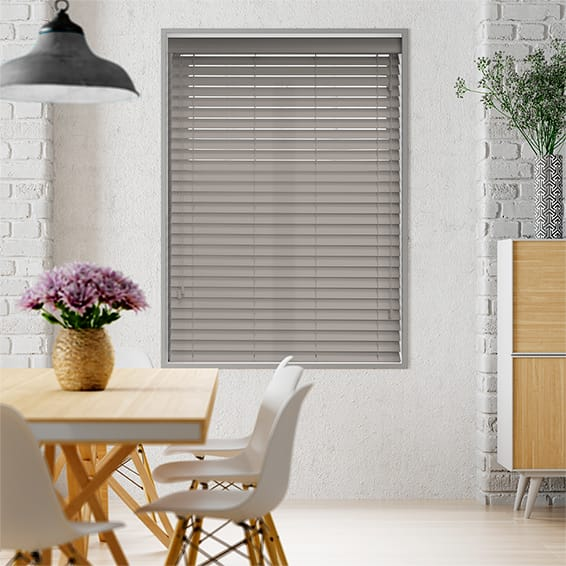 Premium Sleek Fossil Grey Faux Wood Blind - 50mm Slat