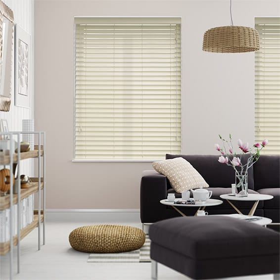 Premium Sleek Rich Cream Faux Wood Blind - 50mm Slat