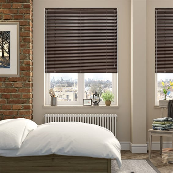 Woodgrain Deep Walnut Venetian Blind - 25mm Slat