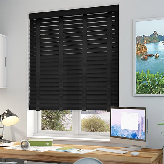 Pure Black Amp Ebony Wooden Blind With Tapes 50mm Slat