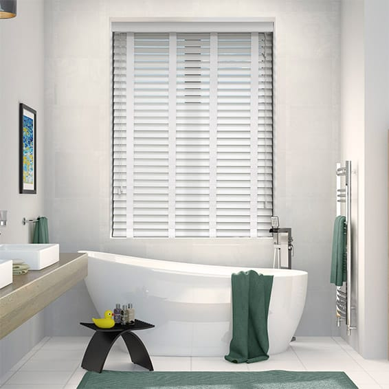 Pure White & White Wooden Blind with Tapes - 50mm Slat