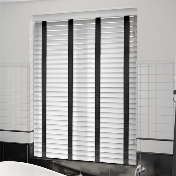 Pure White Wood Blinds With Ebony Tapes