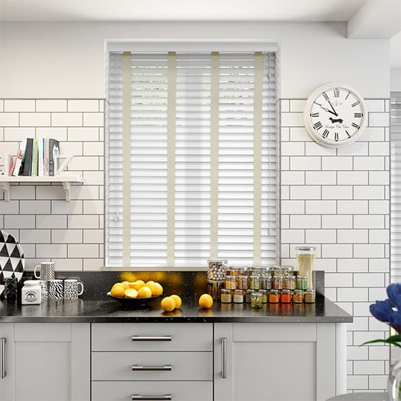 Pure White & Ecru Wooden Blind with Tapes - 50mm Slat