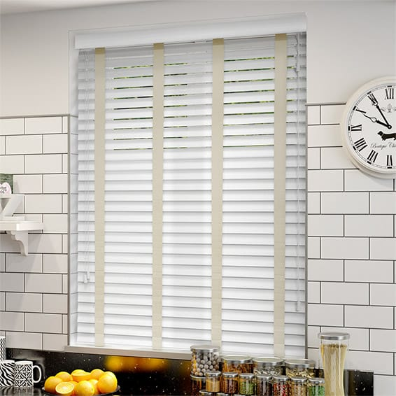 7219366ce0d7 Pure White & Ecru Wooden Blind with Tapes - 50mm Slat
