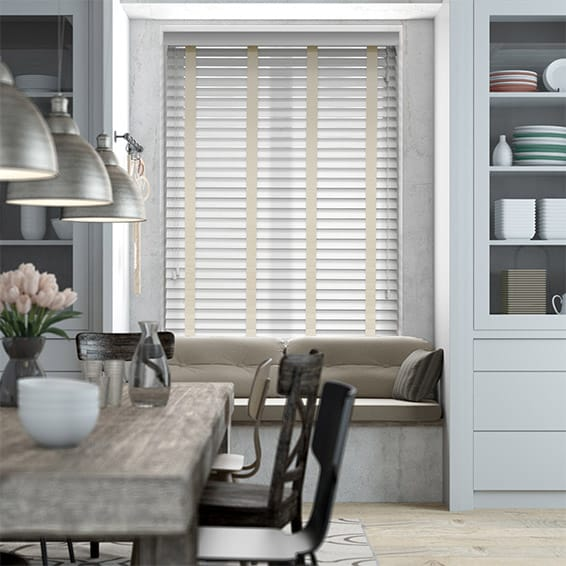 Pure White & Oyster Wooden Blind with Tapes - 50mm Slat