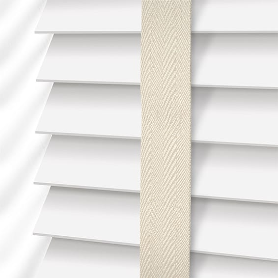 e52f9d764fd8 Pure White & Oyster Wooden Blind with Tapes - 50mm Slat