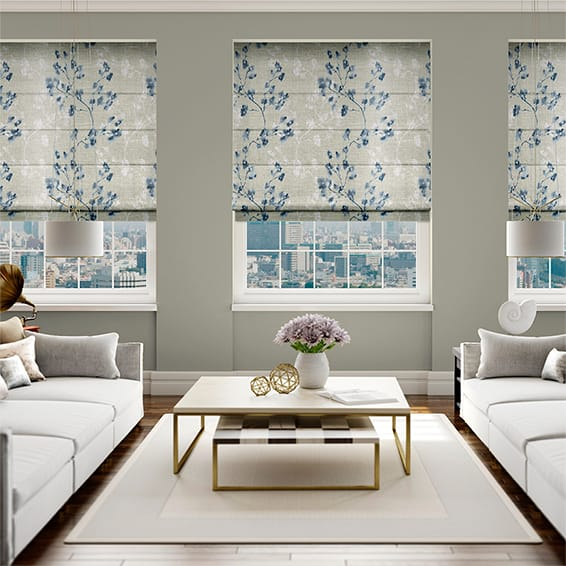 Renaissance Faux Silk Blueberry Roman Blind