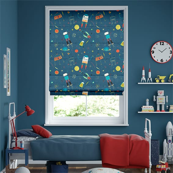 Robbie Robonaut Space Blue Roman Blind