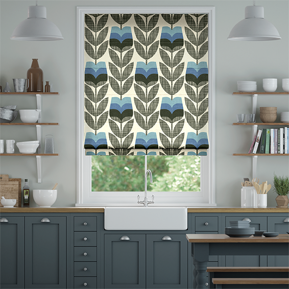 Rosebud Powder Blue Roman Blind