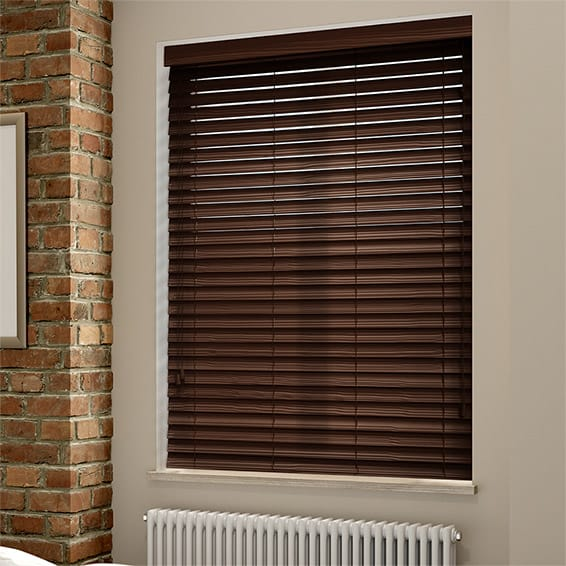 Rosewood Grain Faux Wood Blind 50mm Slat