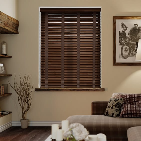 Rosewood & Chocolate Faux Wood Blind - 50mm Slat