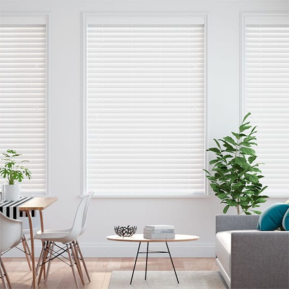 Satin Pure White Faux Wood Blind - 50mm Slat