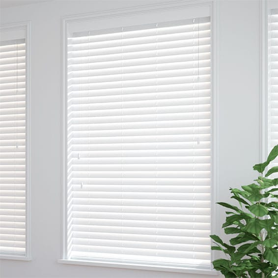 Satin Pure White Faux Wood Blind   50mm Slat
