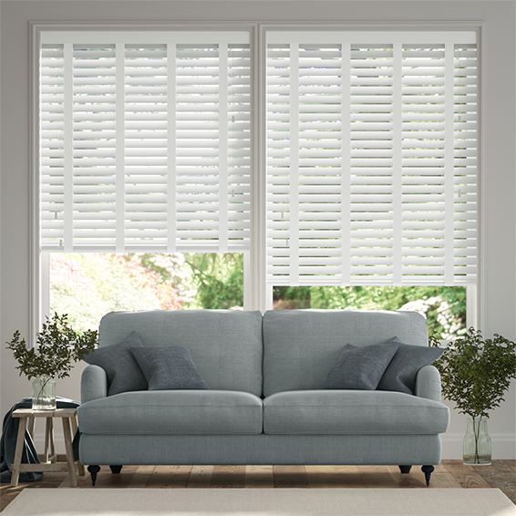 Satin Pure White & White Faux Wood Blind - 50mm Slat