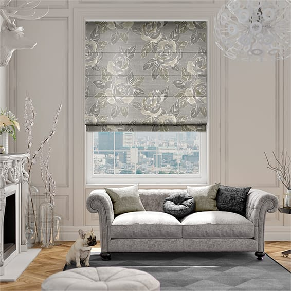 Savoy Faux Silk Chrome Roman Blind