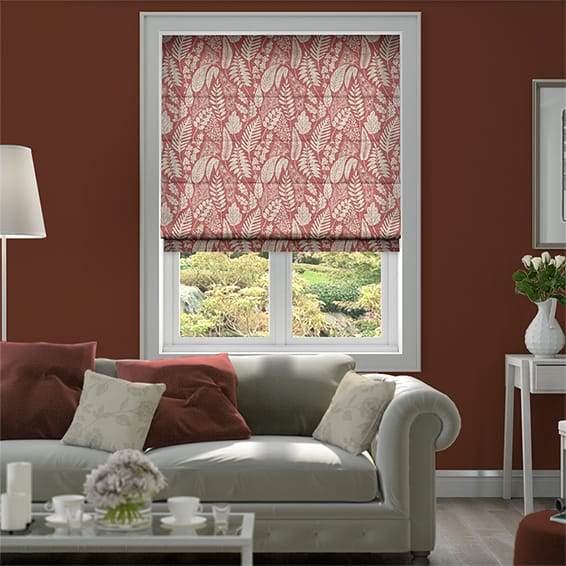 Scandi Ferns Vintage Linen Raspberry Roman Blind