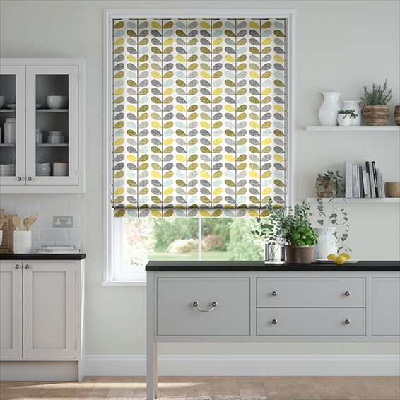 Scribble Stem Seagrass and Duck Egg Roman Blind
