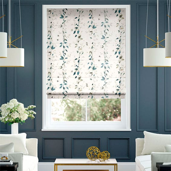 Secret Garden Faux Silk Inky Blue Roman Blind