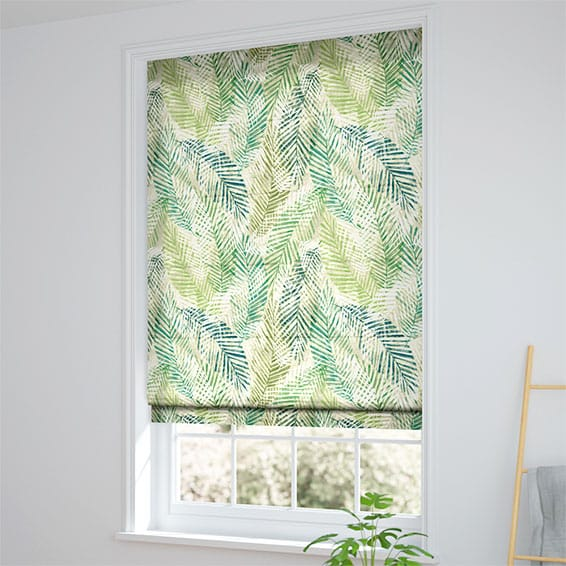 Shadow Leaf Linen Green Roman Blind