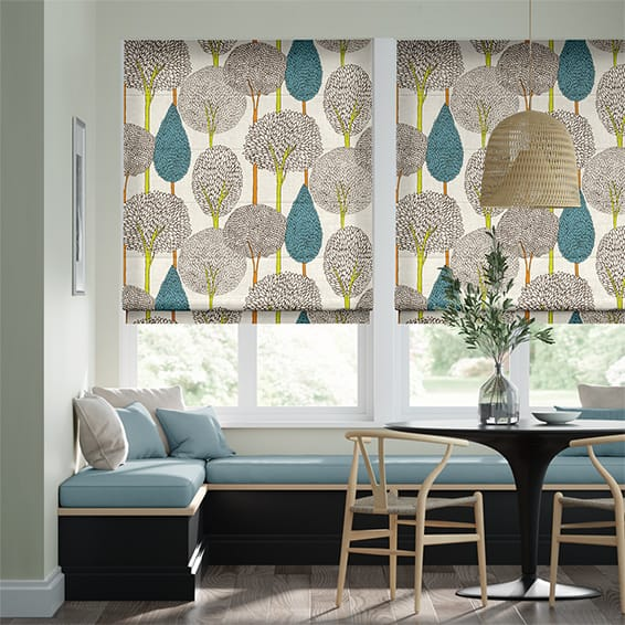Silhouette Peacock Roman Blind