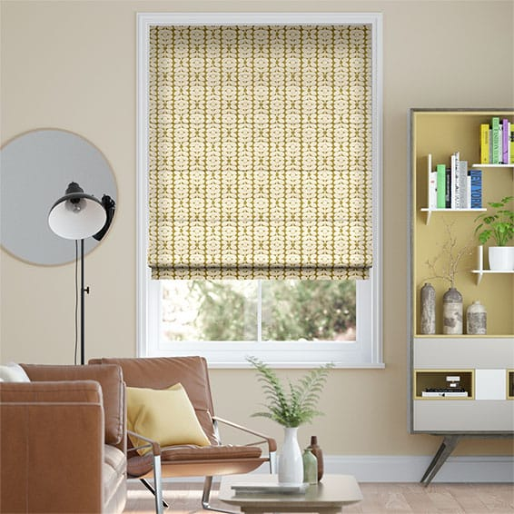 Sixties Stem Yellow Olive Roman Blind