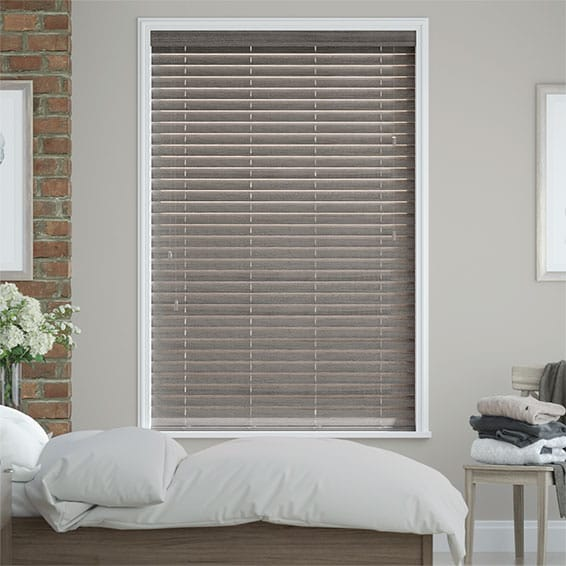 Smoke Whisper Faux Wood Blind - 50mm Slat