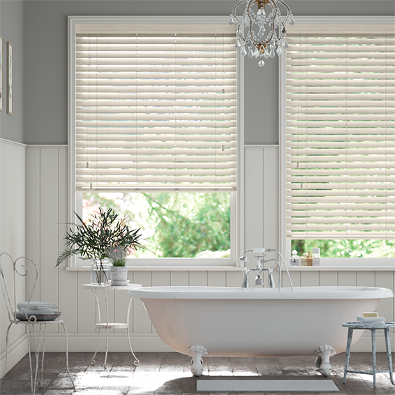 Soft Cream Faux Wood Blind - 50mm Slat