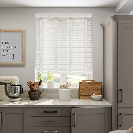Soft Gloss White & Snow Wooden Blind - 50mm Slat