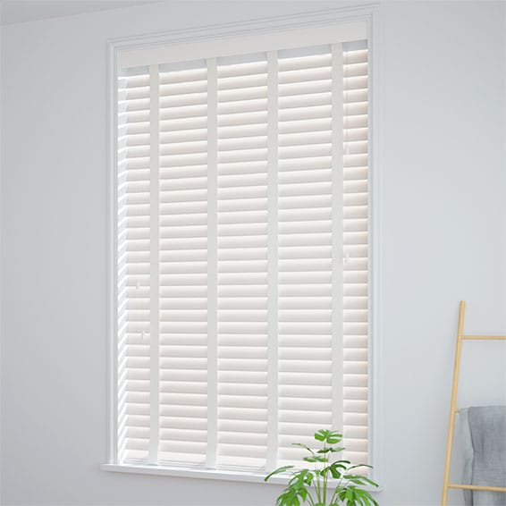 White Window Blinds Faux Wooden Taped Blinds 2go