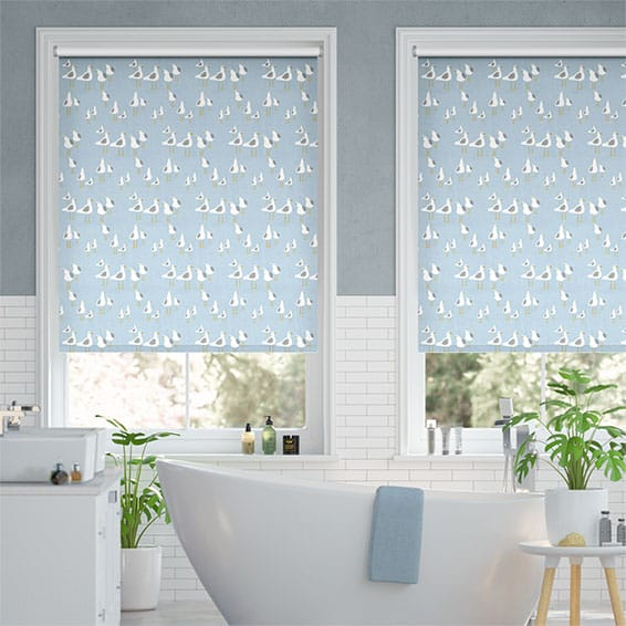 Splash Blackout Gulls Blue Haze Roller Blind