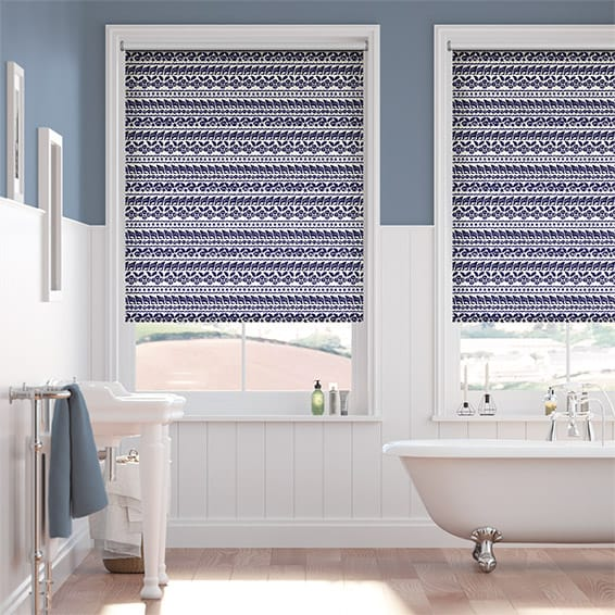 Splash Shells Cobalt Blue Roller Blind