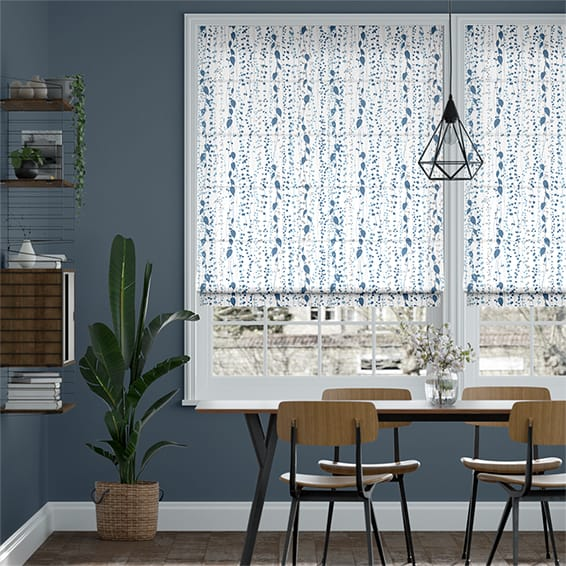 String of Hearts Blue Roman Blind