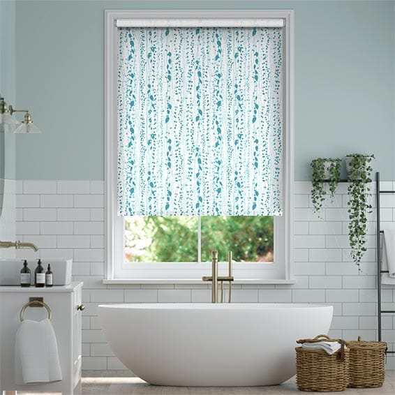 String of Hearts Teal Roller Blind