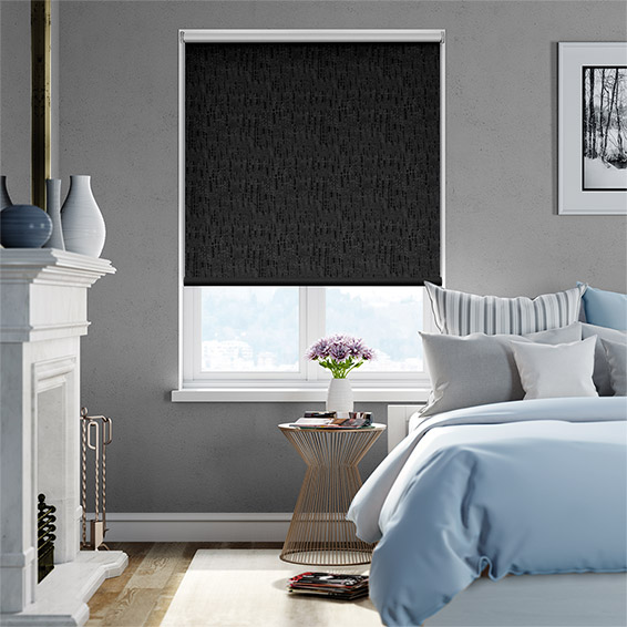 Stucco Pure Black Blackout Roller Blind