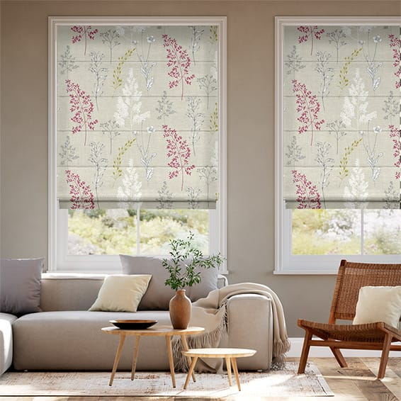 Summer Meadow Magenta Roman Blind