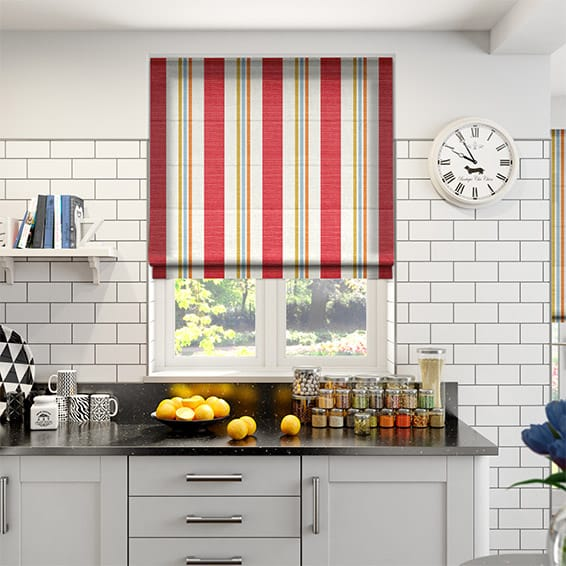 White Kitchen Roller Blinds: Truro Stripe Candy Red Roman Blind