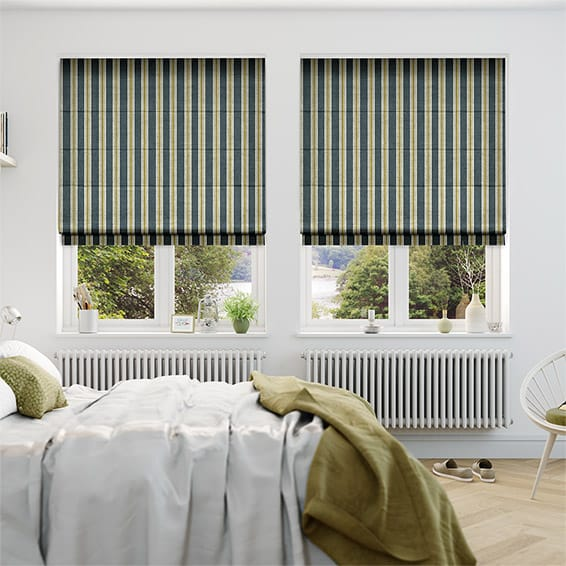 Twill Stripe Linen Gold Shadow Roman Blind