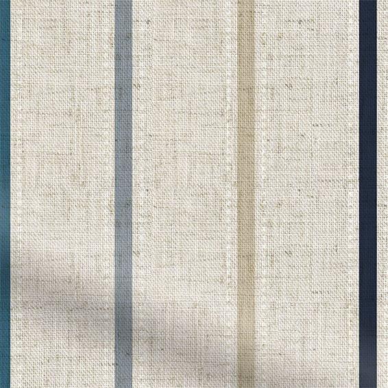 Twill Stripe Linen Ribbon Blue Roman Blind