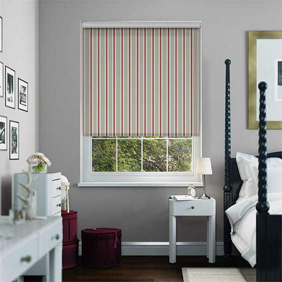 Twill Stripe Strawberry Roller Blind