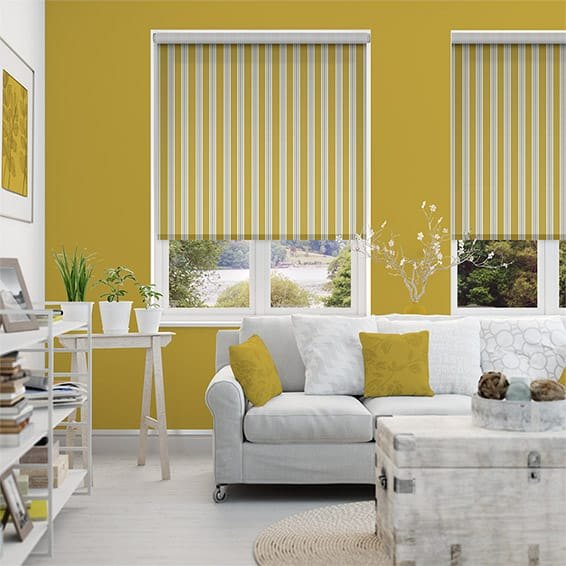 Twill Stripe Yellow Gold Roller Blind