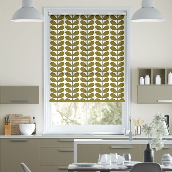 Two Colour Stem Olive Roller Blind