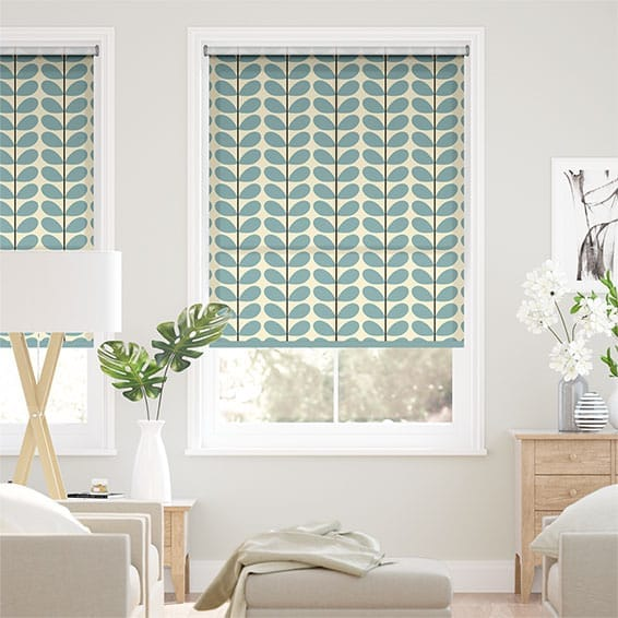 Two Colour Stem Powder Blue Roller Blind
