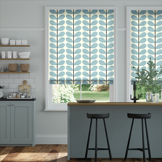 Two Colour Stem Powder Blue Roman Blind