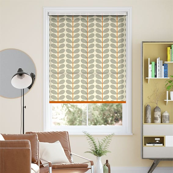Two Colour Stem Warm Grey Roller Blind