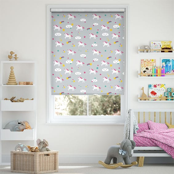 Unicorn Dreams Grey Blackout Roller Blind